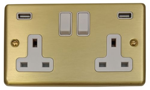 G&H CSB910W Standard Plate Satin Brushed Brass 2 Gang Double 13A Switched Plug Socket 2.1A USB